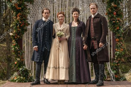 Richard Rankin as Roger Wakefield, Sophie Skelton as Brianna Randall Fraser, Caitriona Balfe as Claire Randall and Sam Heughan as Jamie Fraser