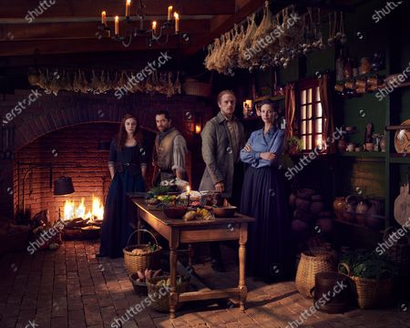 Stock Image of Sophie Skelton as Brianna Randall Fraser, Richard Rankin as Roger Wakefield, Sam Heughan as Jamie Fraser and Caitriona Balfe as Claire Randall