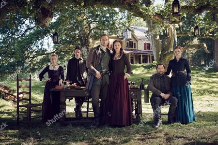 Stock Picture of Lauren Lyle as Marsali, Cesar Domboy as Fergus, Sam Heughan as Jamie Fraser, Caitriona Balfe as Claire Randall, Richard Rankin as Roger Wakefield and Sophie Skelton as Brianna Randall Fraser