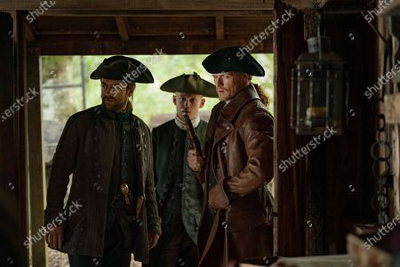 Stock Photo of Richard Rankin as Roger Wakefield, John Bell as Young Ian and Sam Heughan as Jamie Fraser