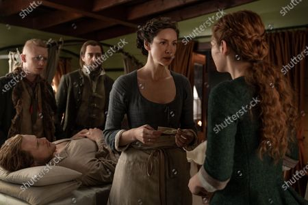Stock Picture of John Bell as Young Ian, Sam Heughan as Jamie Fraser, Richard Rankin as Roger Wakefield, Caitriona Balfe as Claire Randall and Sophie Skelton as Brianna Randall Fraser