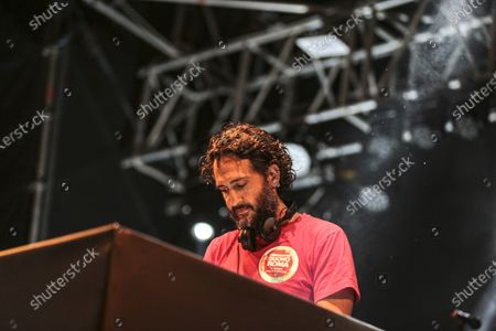 Stock Photo of Jarabe De Palo at the Valmontone Summer Festival 2018.  Jarabe De Palo at the Valmontone Summer Festival 2018. This live was one of his last public appearances. The best known musician by his name Pau Dones and leader of the band, died today following cancer diagnosed in 2015 at the age of 53.