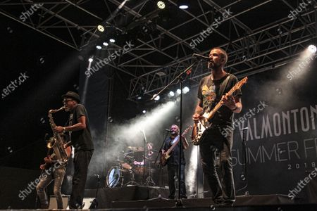 Stock Picture of Jarabe De Palo at the Valmontone Summer Festival 2018. This live was one of his last public appearances. The best known musician by his name Pau Dones and leader of the band, died today following cancer diagnosed in 2015 at the age of 53. Jarabe De Palo at the Valmontone Summer Festival 2018. This live was one of his last public appearances. The best known musician by his name Pau Dones and leader of the band, died today following cancer diagnosed in 2015 at the age of 53.