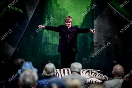 Stock Picture of Stefanie Reinsperger performs during the rehearsal for 'BUSSI BABAAL - einmal Baal To Go' at the Berliner Ensemble theater in Berlin, Germany, 09 June 2020. Theaters will reopen in the German capital on 10 June under certain restrictions for social distancing and hygiene measures due to the ongoing pandemic of the COVID-19 disease caused by the SARS-CoV-2 coronavirus.