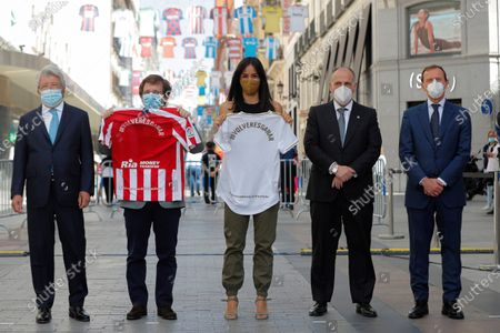 (L to R) President of Atletico Madrid club Enrique Cerezo, Madrid's Mayor Jose Luis Rodriguez Almeida, Madrid's Deputy Mayoress Begona Villacis, President of LaLiga Javier Tebas, and Real Madrid's Institutional Relations director Emilio Butragueno attend an event held in dowtown in Madrid to celebrate and support the resume of soccer games that where suspended due to coronavirus, Spain, 10 June 2020.