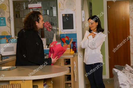 Ep 10078 Monday 22nd June 2020 Seb Franklyn, as played by Harry Visinoni, plucks up the courage to tell Alina Pop, as played by Ruxandra Porojnicu, that he still has feelings for her but the moment is broken by the arrival of Emma Brooker.