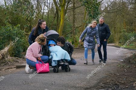 Stock Image of Ep 10079 Wednesday 24th June 2020 Leanne Tilsley, as played by Jane Danson, Nick Tilsley, as played by Ben Price, Steve McDonald, as played by Simon Gregson, Tracy, Simon Barlow, as played by Alex Bain, Emma Brooker, as played by Alexandra Mardell,and Amy Barlow as played by Elle Mulvaney, take Oliver to the petting zoo. Leanne does her best to relax but she can't take her eyes off her son. When Oliver spots some cows, he makes a mooing noise and starts laughing, Leanne's utterly thrilled to see a flash of the old Oliver.