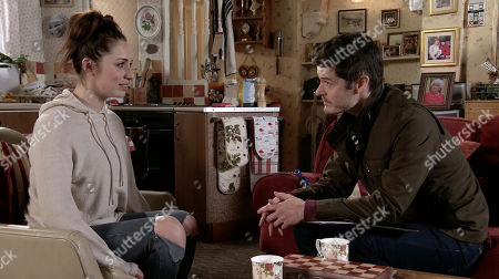 Ep 10078 Monday 22nd June 2020 Worker Aaron, as played by Scot Williams, brings Shona Platt, as played by Julia Goulding to Roys flat where she meets Nina. Aaron explains to Roy that Shona needs routine. David Platt arrives with some magazines.