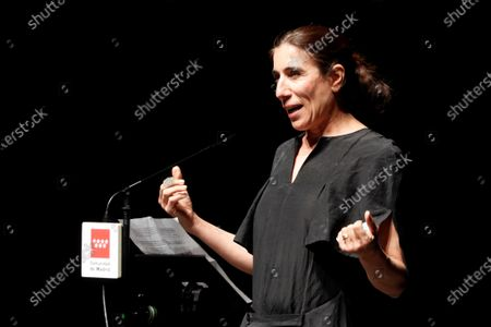 Spanish choreographer, ballerina and filmmaker Blanca Li, who currently serves as Director of the Theaters of the Canal, speaks during the presentation of a special edition of the 'Madrid en danza' dance festival that is set to premiere now that the venue is reopening after nearly three months of closure due to the ongoing pandemic of the COVID-19 disease caused by the SARS-CoV-2 coronavirus, in the Chamberi district of Madrid, Spain, 10 June 2020.