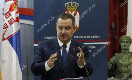 Ministers of Foreign Affairs of Serbia Ivica Dacic gives statements to the media during the press conference with Ministers of Foreign Affairs of North Macedonia after their meeting in The City Assembly House in Nis, Serbia, 10 June 2020.