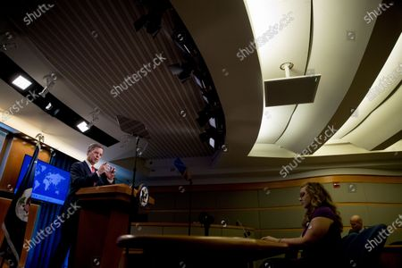 Sam Brownback, Ambassador at Large for International Religious Freedom, speaks during a news conference at the State Department in Washington
