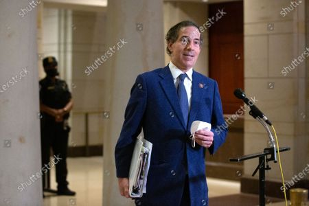 Stock Photo of United States Representative Jamie Raskin (Democrat of Maryland) speaks to members of the media during a break at the United States Capitol in Washington D.C., U.S.,.