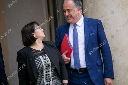 Christiane Lambert and Didier Guillaume with French Unions following the coronavirus crisis at the Elysee Palace.