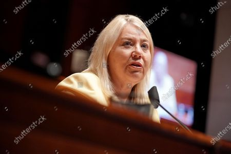 United States Representative Debbie Lesko (Republican of Arizona) asks questions during a US House Judiciary Committee hearing to discuss police brutality and racial profiling.