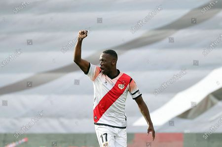 Rayo Vallecano's Luis Advincula celebrates after scoring the 1-0 goal during the Spanish LaLiga SmartBank second division soccer match between Rayo Vallecano and Albacete Balonmpie in Vallecas Stadium, Madrid, Spain, 10 June 2020. It is the first professional soccer match to be plaied in Spain after the lockdown measures implemented in a bid to slow down the spread of the pandemic COVID-19 disease caused by the SARS-CoV-2 coronavirus.