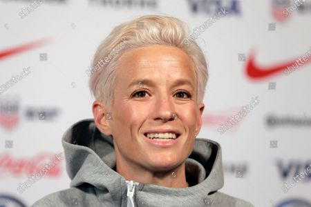 Megan Rapinoe, a member of the United States women's national soccer team, speaks to reporters during a news conference in New York. Groups that advocate for civil rights and women's rights have joined notable athletes in asking the NCAA to move the first and second rounds of the 2021 men's basketball tournament out of Idaho after the state passed a law banning transgender women from competing in women's sports. A letter sent and signed by a list of professional athletes including Megan Rapinoe, Billie Jean King, Jason Collins and Sue Bird calls for the NCAA to move the games set to be held March 2021 at Boise State University