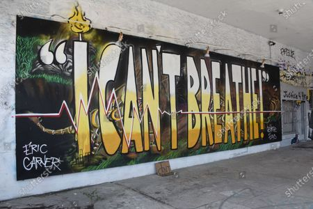 A mural in Miami, honors Eric Garner, George Floyd and to the right Breonna Taylor. The three individuals lost their lives to police brutality and they are part of the Black Lives Matter movement.