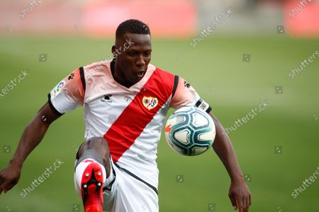 Luis Advincula of Rayo Vallecano celebrates a goal  during the SmartBank spanish league, football match, played between Rayo Vallecano and Albacete BP at Vallecas Stadium in the restart of the second half of the match, postponed since last December 15, 2019 by the chants that a sector of the Rayo Vallecano team's fans dedicated to the Ukrainian forward, Roman Zozulia, at which they called 'fucking nazi' as criticism of their supposed ideology. This is the first professional match played in Spain after Madrid has entered phase 2 of the de-escalation due to the coronavirus COVID19 pandemic.