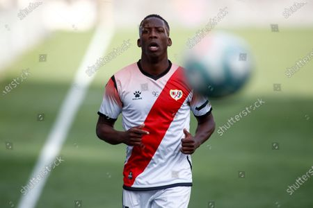 Luis Advincula of Rayo Vallecano in action during the SmartBank spanish league, football match, played between Rayo Vallecano and Albacete BP at Vallecas Stadium in the restart of the second half of the match, postponed since last December 15, 2019 by the chants that a sector of the Rayo Vallecano team's fans dedicated to the Ukrainian forward, Roman Zozulia, at which they called 'fucking nazi' as criticism of their supposed ideology. This is the first professional match played in Spain after Madrid has entered phase 2 of the de-escalation due to the coronavirus COVID19 pandemic.