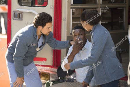 Stock Picture of Giacomo Gianniotti as Dr. Andrew DeLuca, Flex Alexander as Evan Forrester and Kelly McCreary as Dr. Maggie Pierce