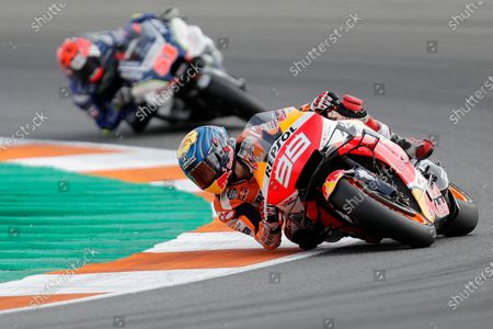 MotoGP rider Jorge Lorenzo of Spain steers his motorcycle during the Valencia Motorcycle Grand Prix at the Ricardo Tormo circuit in Cheste, near Valencia, Spain. MotoGP says it will resume next month with two races in Spain following a suspension caused by the coronavirus pandemic