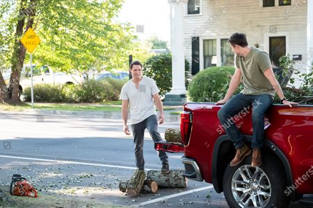 Stock Image of Justin Bruening as Cal Maddox and Jason MacDonald as Tom Patterson