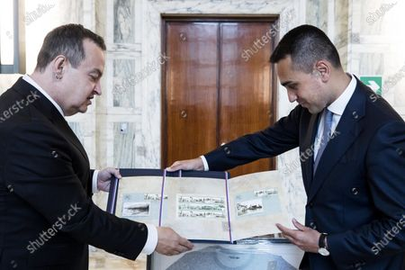 Italian Foreign Minister Luigi Di Maio (R) and Serbian Foreign Minister Ivica Dacic (L), during a meeting at the Farnesina palace in Rome, Italy, 11 June 2020.