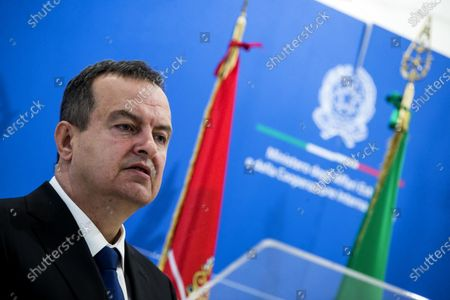 Serbian Foreign Minister Ivica Dacic, during a meeting with Italian Foreign Minister Luigi Di Maio, at the Farnesina palace, in Rome, Italy, 11 June 2020.