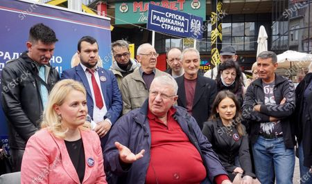 Stock Picture of The presidents of the People's and Democratic Party, Vuk Jeremic and Zoran Lutovac, talked to the citizens about the reasons for the boycott of the upcoming elections at Kalenic market.