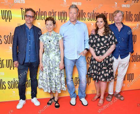 "Swedish director Patrik Ryborn, singer/actress Helen Sjöholm, Mikael Persbrandt, Vanna Rosenberg, director Peter Dalle at a photo call for the movie ""Tills solen går upp"" (Until the sun rises)"