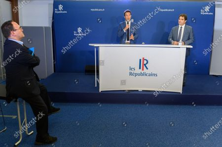 President of LR, Christian Jacob presents the economic and social recovery plan for the republicans (LR) with Guillaume Peltier, Aurelien Pradier, Annie Genevard and Damien Abad at the headquarter of LR.