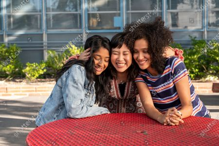 Stock Photo of Maitreyi Ramakrishnan as Devi Vishwakumar, Ramona Young as Eleanor Wong and Lee Rodriguez as Fabiola Torres