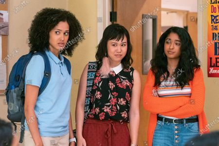 Lee Rodriguez as Fabiola Torres, Ramona Young as Eleanor Wong and Maitreyi Ramakrishnan as Devi Vishwakumar