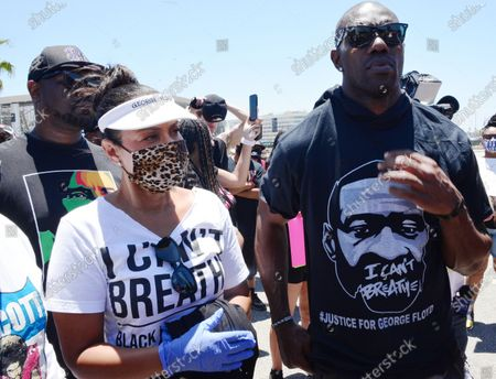 Editorial photo of Terrell Owens and LisaRaye McCoy participate in a Black Lives Matter Protest, Los Angeles, USA - 11 Jun 2020