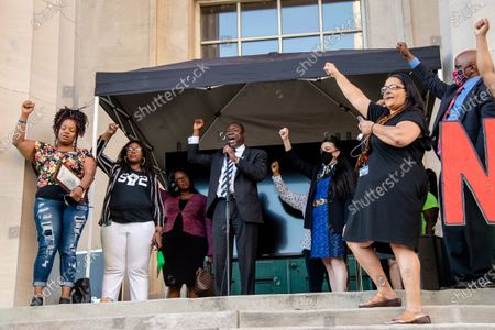 (L-R) Tamika Palmer, Jessica Green, Barbara Sexton Smith and Benjamin Crump address the crowd after the passing of Breonna's Law. Protestors gathered at the Black Lives Matter Louisville '#NOMORENOKNOCKS' Rally in support of Breonna's Law Thursday June 11, 2020 at Metro Hall in Louisville, Kentucky. A city council meeting regarding Breonna's Law was live-streamed to attendees and resulted in a unanimous vote in favor of banning No Knock Warrants.