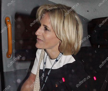 Emily Maitlis goes home in a cab after presenting the bbc news