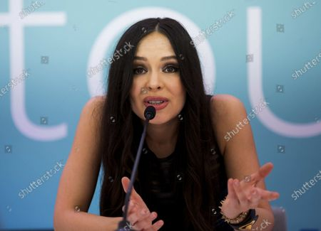 Stock Picture of Lola Astanova speaks at the press conference