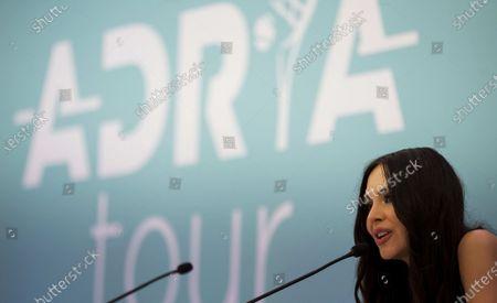 Stock Photo of Lola Astanova speaks at the press conference