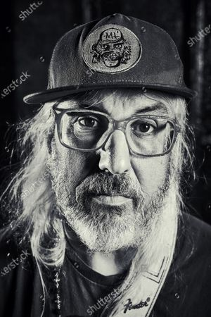 Stock Photo of Portrait of American musician J Mascis, photographed before a solo acoustic show at Thekla in Bristol, England, on May 18, 2019. Mascis is best known as the guitarist and vocalist with rock group Dinosaur Jr.