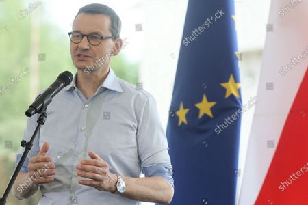 Polish Prime Minister Mateusz Morawiecki during a press conference with the participation of Saulius Skvernelis, Prime Minister of the Republic of Lithuania, at the Budzisko-Kalvarija border crossing in Podlaskie Voivodeship, Poland, 12 June 2020. On the night of 12-13 June, Poland will restore full border traffic within the internal borders of the European Union. The EU's external borders will remain closed.
