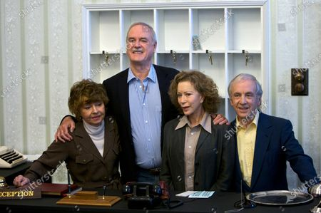 """Stock Picture of Dated, the cast of Fawlty Towers from left, Prunella Scales, John Cleese, Connie Booth and Andrew Sachs reunite to celebrate the 30th anniversary of the TV show and mark a special programe """"Fawlty Towers: Re-opened"""" at The Naval and Military Club, London. One of the most memorable episodes of one of the most popular British sitcoms of all-time, Fawlty Towers, has been withdrawn from a streaming service because of numerous racial slurs"""