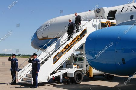 Vice President Mike Pence, right, and Sen. Pat Twomey, R-Pa., wave as they arrive at the 171st Air Refueling Wing base, in Imperial, Pa