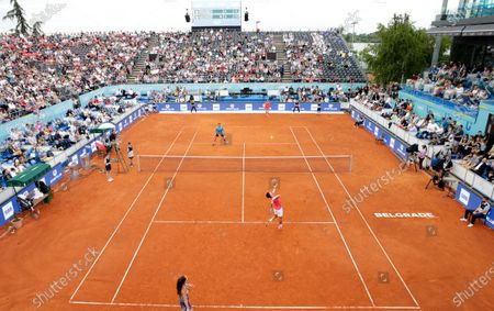 Serbian tennis players Novak Djokovic (front R) and Jelena Jankovic (front L) in action against compatriots Nenad Zimonjic (back L) and Olga Danilovic (back R) during a pre-tournament exhibition match of the Adria Tour tennis tournament in Belgrade, Serbia, 12 June 2020. The Adria Tour tennis tournaments are to be played in Serbia, Croatia, Montenegro, and Bosnia and Hercegovina from 12 June until 05 July 2020.
