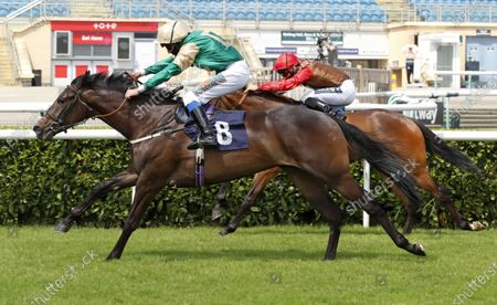 Sparkling Perry and James Sullivan winning The Betway British Stallion Studs EBF Fillies' Novice Stakes from Magisterium (red)Doncaster 13.6.2020Pic Dan Abraham, supplied by Hugh Routledge
