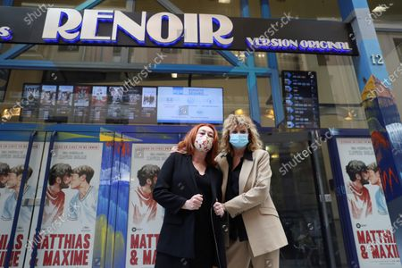 Emma Suarez (R) and Spanish director Gracia Querejeta (L) presents the movie 'Invisible' at the Renoir Plaza Espana cinema as it reopens doors in Madrid, Spain, 12 June 2020. Theaters in Madrid resumed business as lockdown restrictions are eased amid the ongoing pandemic of the COVID-19 disease caused by the SARS-CoV-2 coronavirus.
