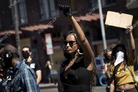 Editorial picture of Protest in Los Angeles in wake of George Floyd's death, USA - 12 Jun 2020