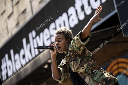 US singer V. Bozeman delivers a speech during the Stand-Up for Social Justice live event organized by the Laugh Factory in Los Angeles, California, USA, 12 June 2020. Protests continue over the arrest in Minnesota of George Floyd, who died in police custody. A bystander's video posted online on 25 May appeared to show George Floyd, 46, pleading with arresting officers that he couldn't breathe as an officer knelt on his neck. The unarmed African-American man later died in police custody.