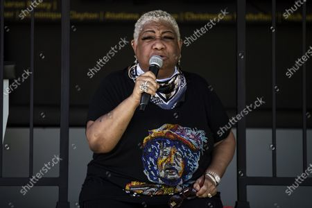 US actress and comedian Luenell Campbell delivers a speech during the Stand-Up for Social Justice live event organized by the Laugh Factory in Los Angeles, California, USA, 12 June 2020. Protests continue over the arrest in Minnesota of George Floyd, who died in police custody. A bystander's video posted online on 25 May appeared to show George Floyd, 46, pleading with arresting officers that he couldn't breathe as an officer knelt on his neck. The unarmed African-American man later died in police custody.