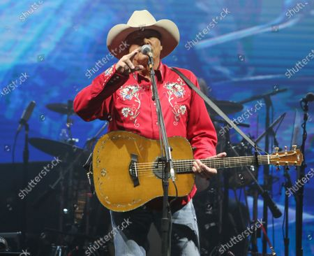 Stock Image of Alan Jackson performs at The Alan Jackson's Small Town Drive-In Concert on June 12, 2020 in Cullman, Alabama.