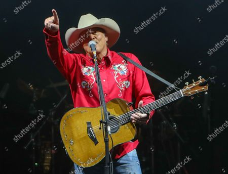 Stock Picture of Alan Jackson performs at The Alan Jackson's Small Town Drive-In Concert on June 12, 2020 in Cullman, Alabama.
